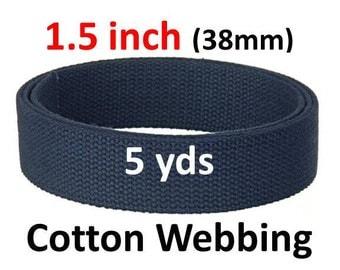 1.5 inch Cotton Webbing 5 yards Navy Blue Bag Strap Key Fobs Purse Handle Leash