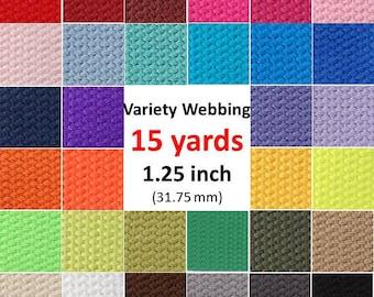 Cotton Webbing 15 yards Key Fobs Belts Purse Bag Straps Leash You Pick Colors