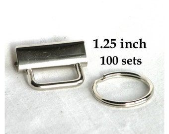 Key Fob Hardware 1.25 inch Nickel Plated 100 sets