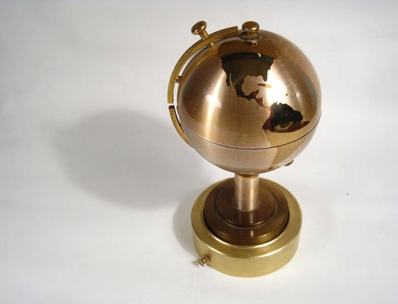 revolving music box world globe cigarette holder 1960s