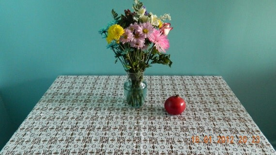 """Crochet Tablecloth - """"Snowflakes"""""""