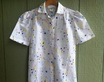 White Pattern Vintage Blouse