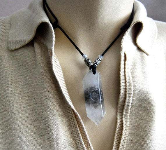 TIBETAN double terminated Crystal pendant w/ inclusions.