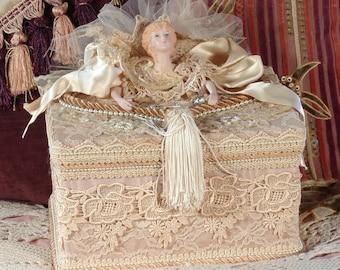 Victorian Keepsake / Trinket / Hat  Box - Large Square- Vintage Style - Hand Decorated