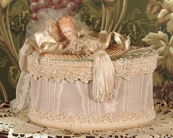 Victorian Keepsake / Trinket / Hat  Box - Large Oval- Vintage Style - Hand Decorated