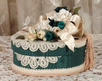Victorian Keepsake / Trinket / Hat  Box - Small Oval - Vintage Style - Hand Decorated