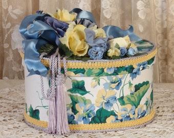 Victorian Keepsake /  Trinket Hat  Box - Blue Sweet Violets Waverly Fabric - Vintage Style