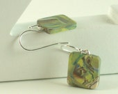 Polymer clay earrings - brown, blue, white, and pale green swirl (GPm-S-P-1)