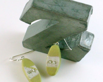 Polymer clay earrings - white on pale green with seed beads (GW-O-2B-1)