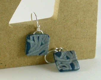 Polymer clay earrings - silver color on blue (BS-S-P-2)