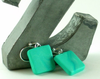 Polymer clay earrings - teal, turquoise, and white (TW-S-P-5)