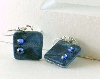 Polymer clay earrings - silver color on blue (BS-S-2C-1)