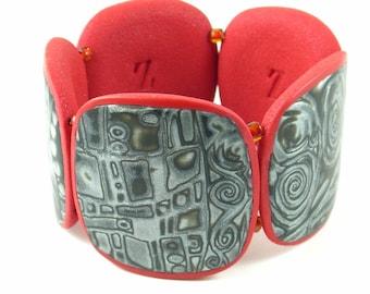 Stretchy bracelet polymer clay cuff bracelet Klimt bracelet noir series with cadmium red