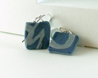 Polymer clay earrings - silver color on blue (BS-S-P-5)