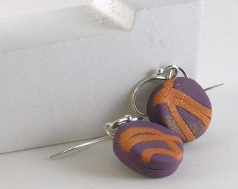 Polymer clay earrings - copper color on purple (PC-C-P-1)