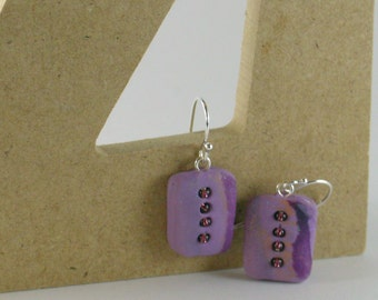 Polymer clay earrings - copper color on purple (PC-FR-4B-1)