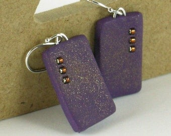 Polymer clay earrings - purple and copper color (PC-R-B3-1)