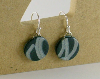 Polymer clay earrings - silver color on blue (BS-C-P-1)