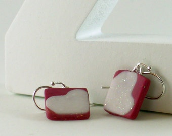 Polymer clay earrings - red, and white (RW-S-P-1)