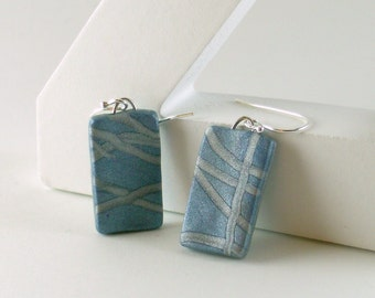 Polymer clay earrings - pale blue with silver (BS-R-P-3)