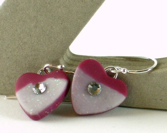 Polymer clay earrings - red and white hearts with Swarovski crystals (RW-H-1C-2)
