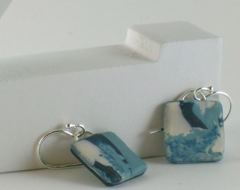 Polymer clay earrings - blue and white (BW-S-P-1)