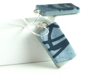 Polymer clay earrings - navy blue on silvery blue (SB-R-P-1)