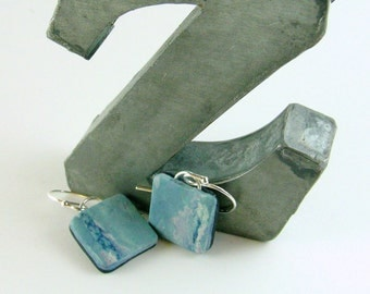 Polymer clay earrings - blue and white (BB-S-P-1)