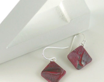 Polymer clay earrings - red, black, silver, and white (RBkW-D-P-1)