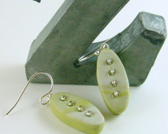 Polymer clay earrings - white on pale green with seed beads (GW-O-4B-1)