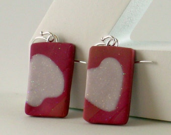 Polymer clay earrings - red, and white (RW-R-P-1)