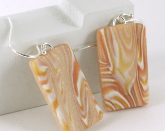 Mokume gane earrings - copper, silver, white, and gold polymer clay (GdW-R-P-2)
