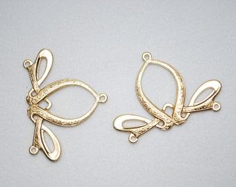 Beautiful Brass Art Nouveau Celtic Connectors (4)