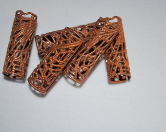 Rolled Brass Filigree tube, very unique. 6pcs