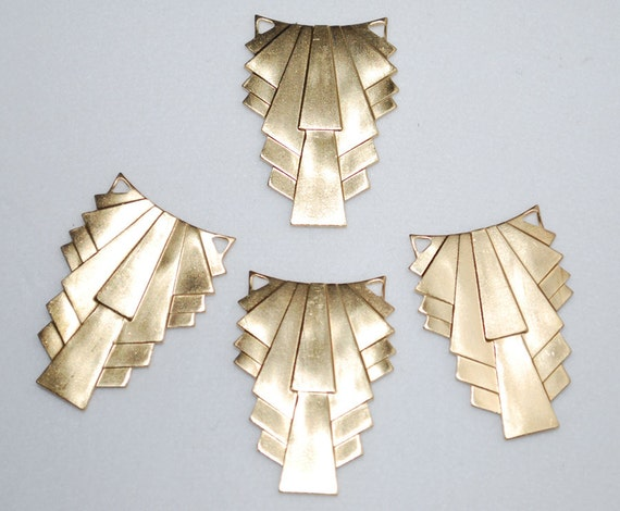 Art Deco Drop Vintage Brass Stamping 6pc
