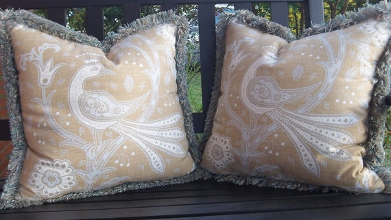 Designer Print Throw Pillows with Decorative Brush Fringe Tan & Blue