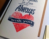 Handmade Typographical Valentines Day  Anniversary I Love You Greeting Card