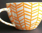 Bright Orange Herringbone Mug