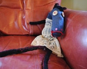 Quirky stuffed Horse made with recycled and vintage materials