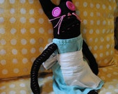 Silly Bunny, Stuffed Sock Animal with Dress, Hand Stitched and Made with all Recycled Materials