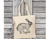 """Vintage Rabbit """"Le Lapin"""" Tote Bag Natural Cotton Canvas"""
