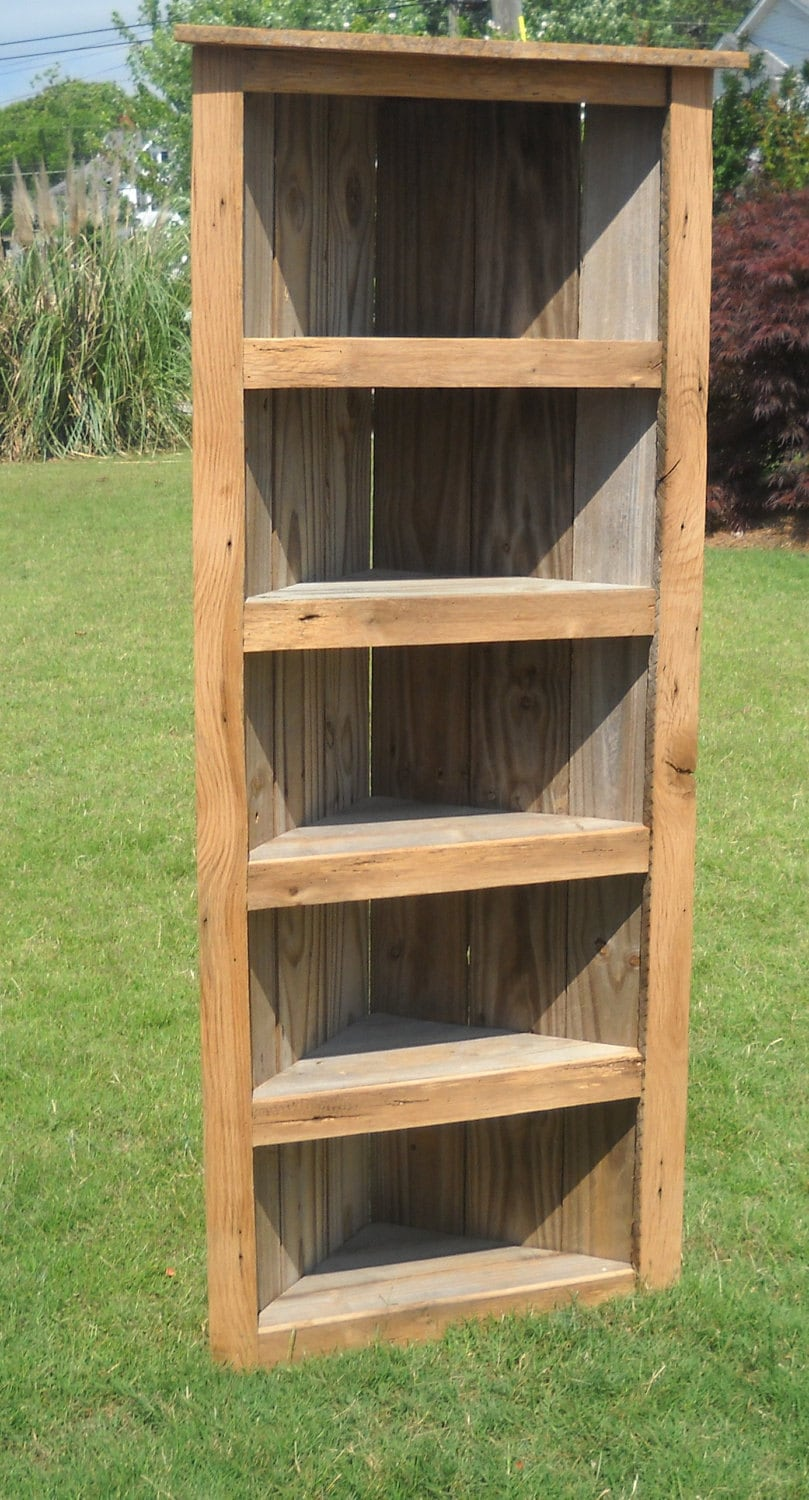 Barn wood Bookcase Barn wood Corner Bookcase Corner