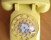 Vintage Western Electric Bell System Yellow Rotary Telephone 3 Wire