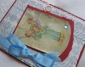 Vintage Catholic Holycard Handmade Greeting Card Child Jesus with Sacred Heart