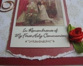 First Holy Communion Handmade Card Boy or Girl Red and White