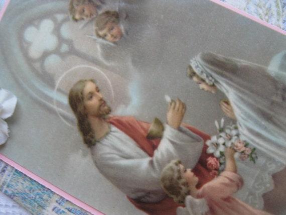 Catholic Girls First Holy Communion Handmade Card