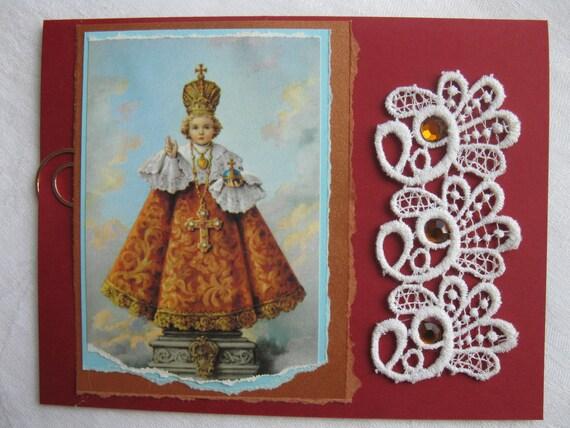 Catholic Infant Jesus of Prague Handmade Card Cranberry Red