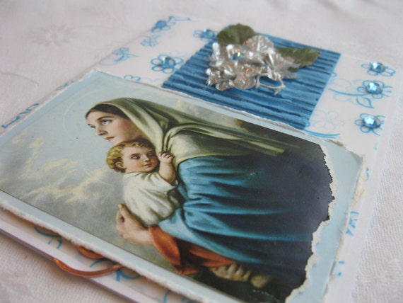 Madonna and Child Catholic Handmade Card Blue and White