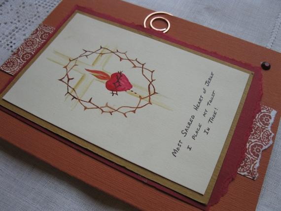 Catholic Sacred Heart of Jesus Handmade Card