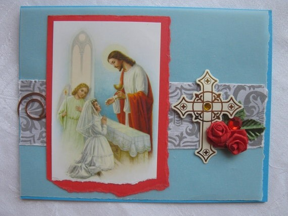 Catholic Girls First Holy Communion Handmade Card with Red Roses